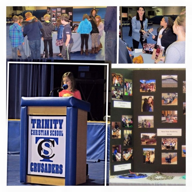 Parks spoke in front of her elementary school, showed two videos of New Hope's work and sold Biashara products to raise almost $1000 for the people in Kibera. Photo credits to TCS.