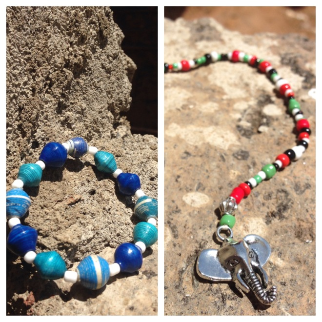 The ladies of Biashara designed two specialty products for Parks' event - a TCS bracelet in the school colors and a Kenya bookmark made with the colors of the Kenyan flag.