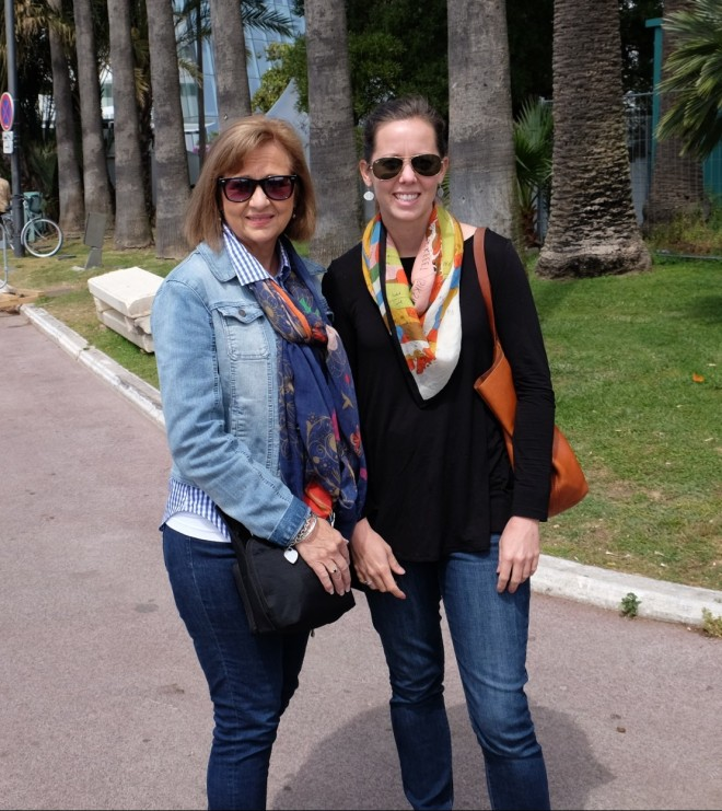 Mom and I enjoying Cannes.